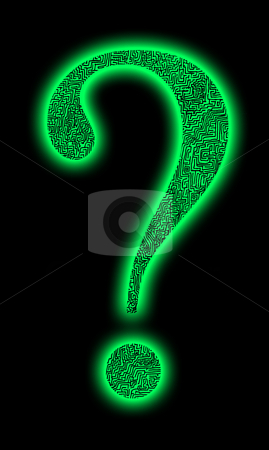 Maze question mark stock photo, Green question mark with labyrinth by Reinhart Eo