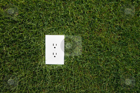 Electrical outlet in grass stock photo, Electrical outlet in grass, alternative energy source by Bryan Mullennix