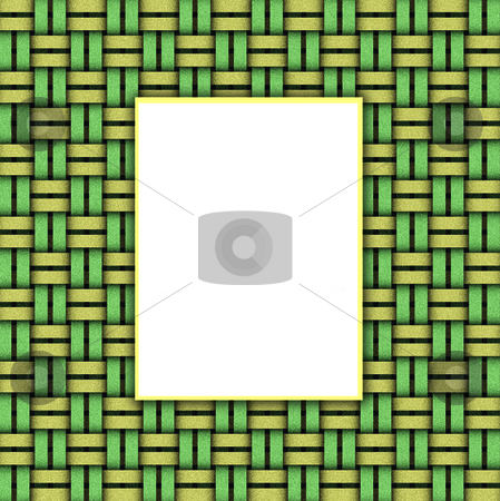Basket Weave Frame stock photo, A frame with room for text bordered by a green yellow and black basketweave pattern by EC Studio