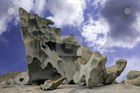 Natural sculpture at the Remarkable Rocks on Kangaroo Island stock photo, Natural sculpture against blue sky and clouds at the Remarkable Rocks outcrop in Flinders Chase National Park on Kangaroo Island, South Australia by Stephen Goodwin