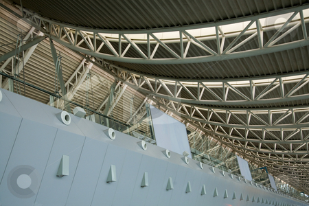 Modern Shenyang Airport Liaoning Province China  stock photo, Close Up and Details of Modern Airport, Shenyang Provincial Capital, Liaoning Province, China  Roof, No Trademarks by William Perry