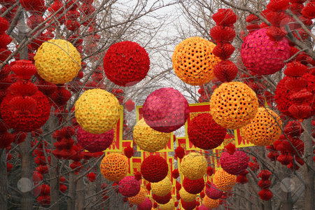 Chinese, Lunar, New Year Large Decorations Ditan Park, Beijing,  stock photo, Chinese New Year Decorations, Ditan Park, Beijing, China.  During Lunar New Year, many parks and temples in China have large outdoor fairs, festivals. by William Perry