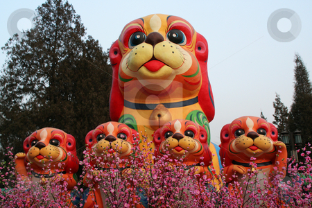 Chinese, Lunar, New Year Decorations Ditan Park, Beijing, China  stock photo, Chinese, Lunar, New Year Decorations, Ditan Park, Beijing, China, Dogs and Flowers.  Another name for Chinese New Year is the spring festival.  Thus, the flowers. by William Perry