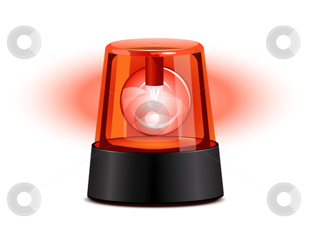 Red flashing light stock vector clipart, Red flashing light over a white background by Laurent Renault