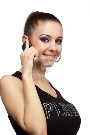 Cheerful woman talking on a phone stock photo, Cheerful woman talking on a phone over white by Ivelin Radkov