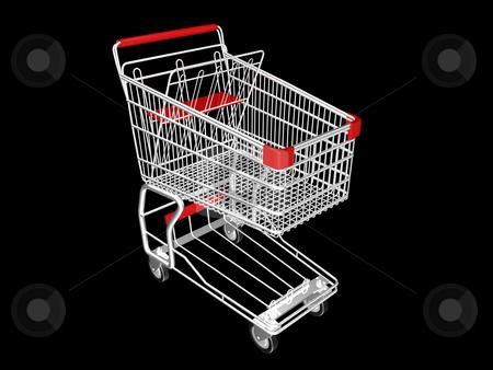 Shopping Cart stock photo, Metal Shopping Cart on a Black Background by John Teeter