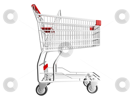 Shopping Cart stock photo, Metal Shopping Cart on a White Background by John Teeter