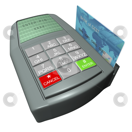 Credit Card Terminal stock photo, Credit card in terminal on a white background by John Teeter