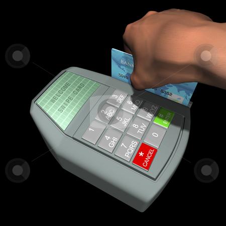 Credit Card Terminal stock photo, Hand swiping card on credit terminal by John Teeter