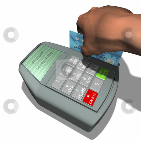 Credit Card Terminal stock photo, Hand swiping card on terminal with white background by John Teeter