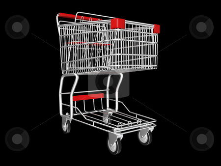 Shopping Cart stock photo, Metal Shopping Cart on a Black Background by John Teeter