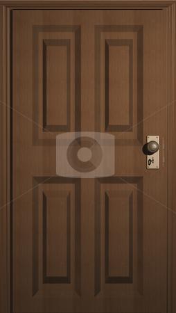 Wooden Door stock photo, 3D illustration of a wooden door with keyhole by John Teeter