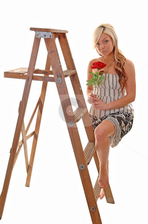 Girl on stepladder. stock photo, Pretty young girl in a black and white dress with long blond hair standing on the wooden stepladder, looking in the camera. by Horst Petzold