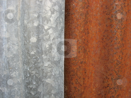 Young and Old stock photo, Rusted corrugated iron fence abstract by Robyn Butler
