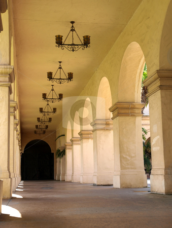 Arched mission walkway stock photo, An exterior mission style walkway with arched design by Jill Reid