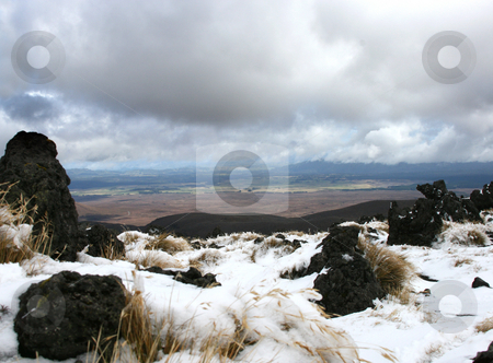Moutainview stock photo, View on plain with snow in foreground by David Schmidt