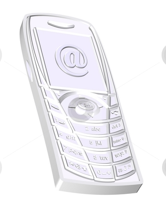 Cellphone and email symbol stock photo, 3d cellphone and email symbol - computer generated illustration by Stelian Ion