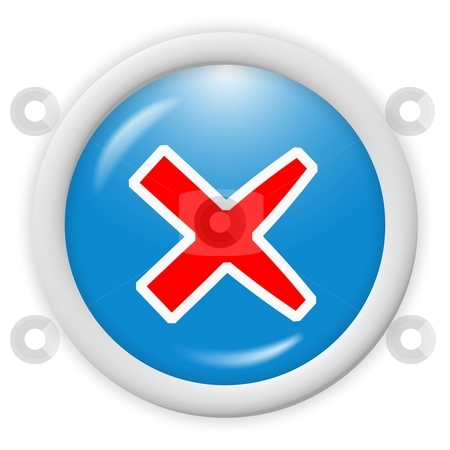 Blue 3d icon stock photo, Blue 3d icon symbol - delete, cancel, sign by Stelian Ion