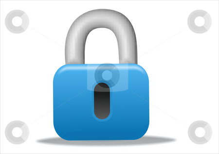 Padlock icon stock photo, 3d blue padlock icon design - business series by Stelian Ion