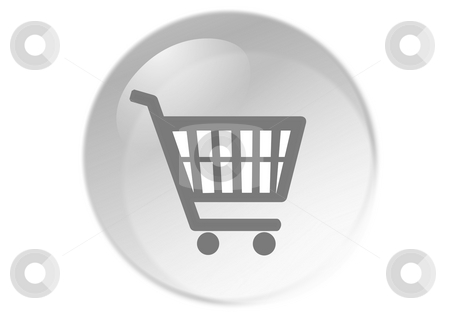 Shopping cart button stock photo, Shopping cart button - web icon - computer generated illustration by Stelian Ion
