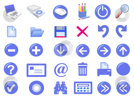 3d icon set stock photo, 3d computer icon set - computer generated by Stelian Ion