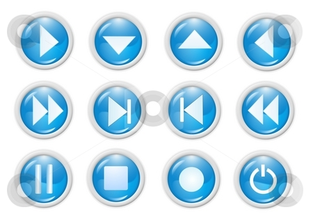 Icon stock photo, 3d blue icon symbol - web design graphics by Stelian Ion
