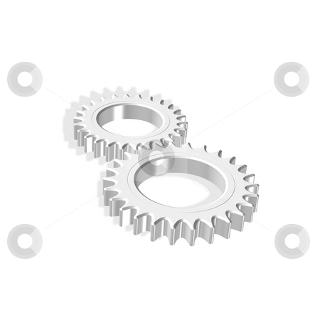 Two gears stock photo, 3d gears illustration - partnership, teamwork, colaborate concept by Stelian Ion