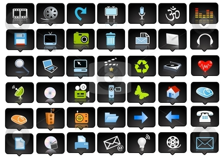 Icons and logo stock photo, Icons set and logo - web page design elements by Stelian Ion
