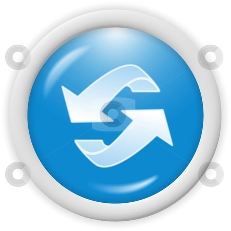 Recycle icon stock photo, Blue 3d recycle icon - computer generated clipart by Stelian Ion