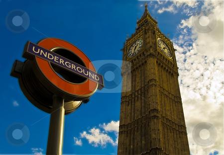Big ben & undergound station sign stock photo, Big ben & undergound station sign - london architecture by Stelian Ion