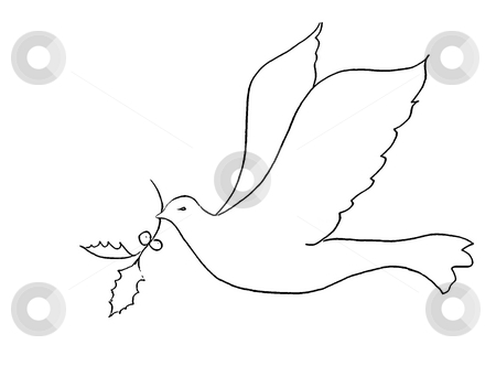 Bird silhouette - peace symbol concept stock photo, Angels silhouettes isolated on the white background. by Stelian Ion