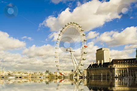 London-eye reflection stock photo, London-eye view on the beautiful cloudscape background by Stelian Ion