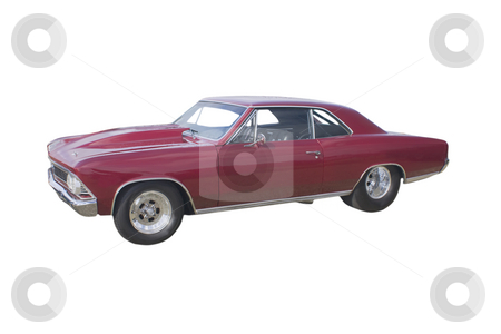 Red drag racing styled hotrod stock photo, Maroon hotrod with racing slicks and roll cage on white by Lee Barnwell