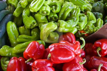 Hot Peppers stock photo, Bin of red & green hot peppers at a local farmers market. by Steve Carroll