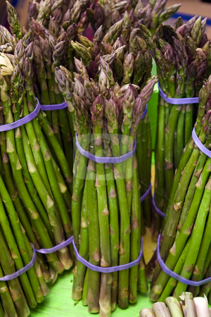 Asparagus Bunches stock photo, Bunches of asparagus at a local farmers' market. by Steve Carroll