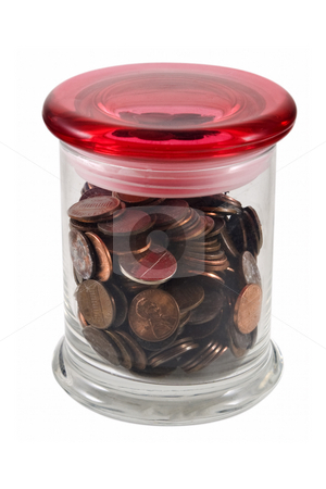 Pennies in Jar stock photo, Pennies in jar with red top, isolated on white w/clipping path. by Steve Carroll