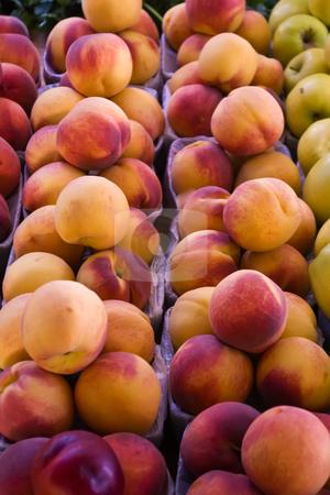 Fresh Peaches stock photo, Bins of fresh peaches at a local farmers' marker. by Steve Carroll