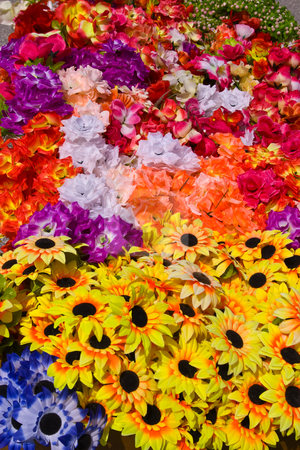 Arificial Flowers stock photo, A group of artificial