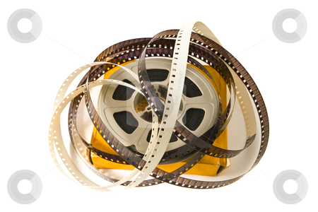8mm Movie Film stock photo, 8mm movie film on plastic real, with original yellow box.  Isolated on white backgroud. by Steve Carroll