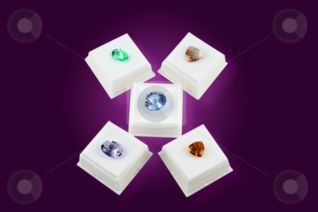 Misc. Colored Gem Stones in White Boxes stock photo, Various colors of faceted gem stones, in white boxes, with clipping path. by Steve Carroll