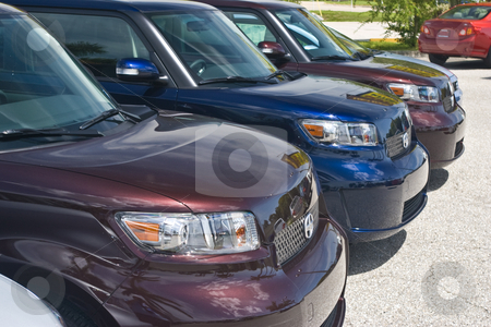 Scion xB's Awaiting Customers stock photo, 3 Scion xB's on a Toyota Dealer's lot. by Steve Carroll