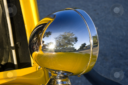 Vintage Automobile Headlamp stock photo, Chrome headlight of a vintage Hot Rod. by Steve Carroll