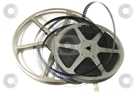 8mm Movie Film and Reel stock photo, 8mm movie film with metal reels.  Isolated on white backgroud. by Steve Carroll