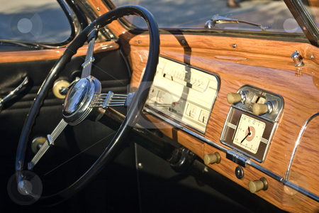 Antique Car Dashboard stock photo, Dashboard of an antique convertible car. by Steve Carroll
