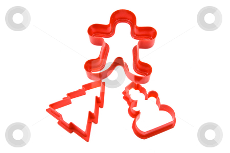 Three Christmas Cookie Cutters stock photo, Three red Christmas Cookie Cuttters On A White Background. by Steve Carroll