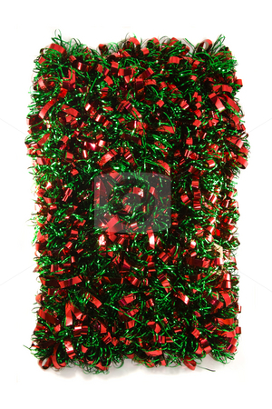 Christman Garland  stock photo, Red & Green Chistmas Garland isolated on white bacground. by Steve Carroll