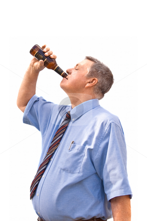 Overweight senior Caucasian businessman a drinking beer after a  stock photo, Overweight senior Caucasian businessman a drinking beer after a hard day, isolated on white background by Steve Carroll