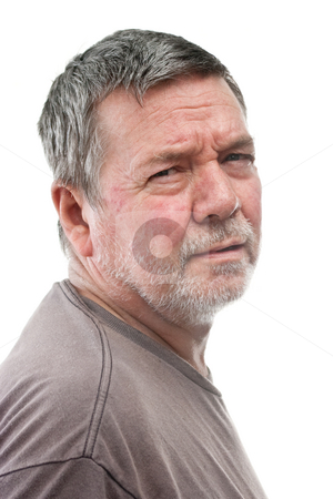 Mature Homeless Man, 3/4 view, isolated stock photo, Mature man of 58 years, with white stubbly beard, 2/3 view head & shoulders, isolated on white by Steve Carroll
