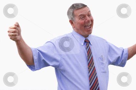 Businessman expressing joy. stock photo, Senior Caucasian businessman shouting for joy,  isolated against a white background. by Steve Carroll