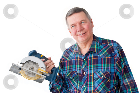 Portrait of Mature Handyman stock photo, Portrait of mature handyman with circular saw, isolated on a white background. by Steve Carroll